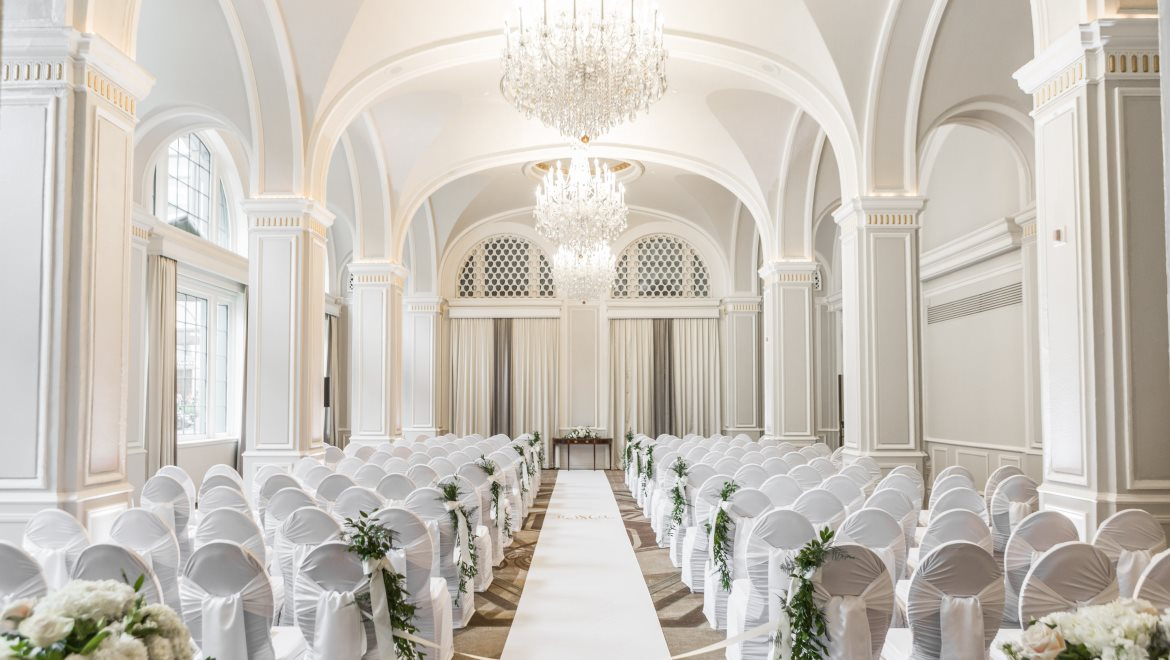 Featuring Three Ornate Crystal Chandeliers Soaring Ceilings With Arched Detail And Large Windows Allowing For Ample Natural Lighting The Severin Ballroom