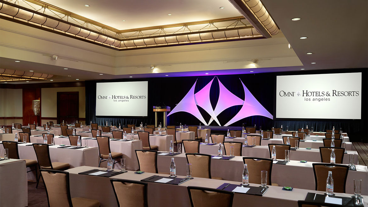 Los Angeles Hotel meeting room with screens
