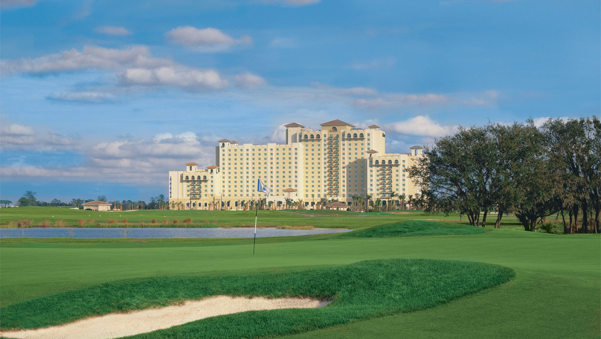 Exterior with golf course view at Championsgate in Orlando