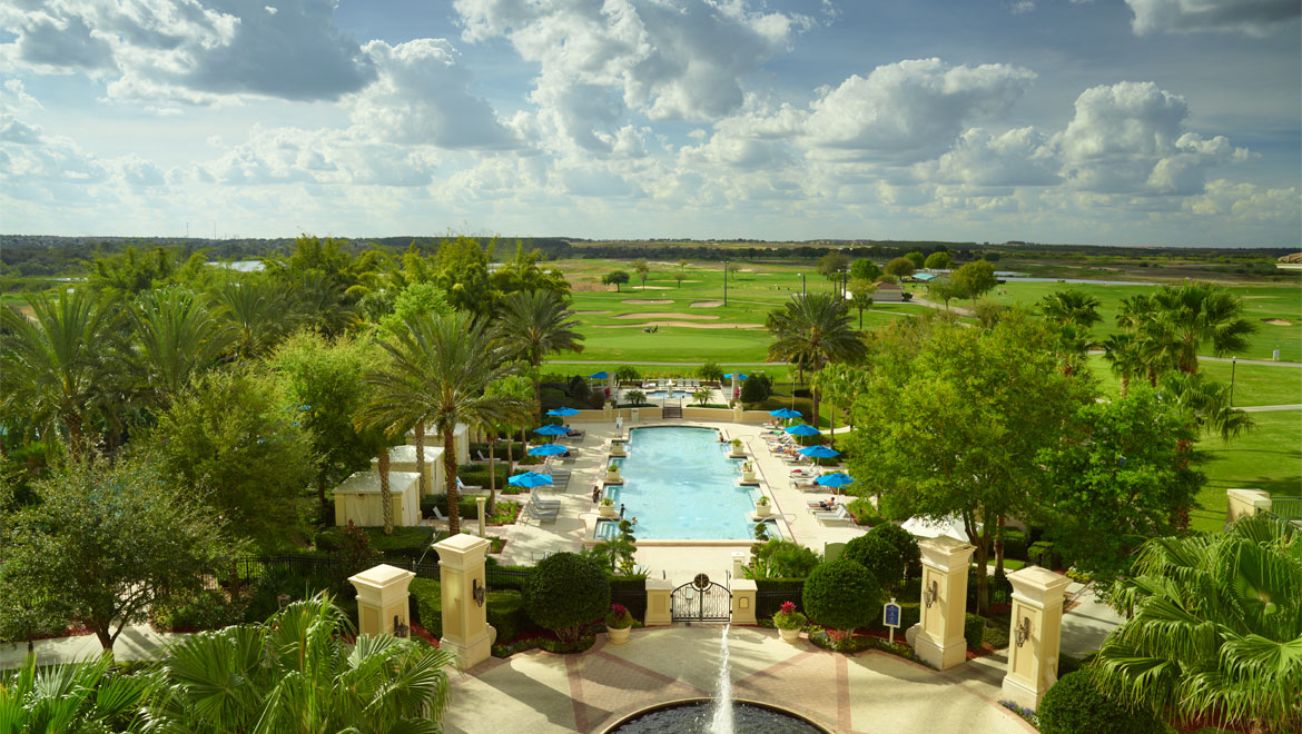 Aerial view of pool at Championsgate