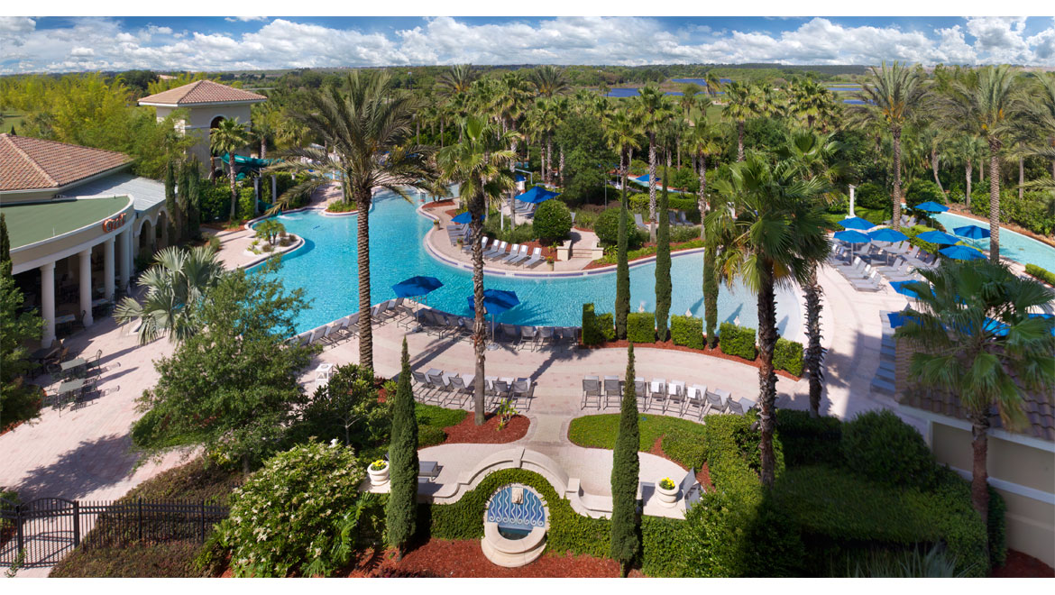 Overhead view of pool at Championsgate