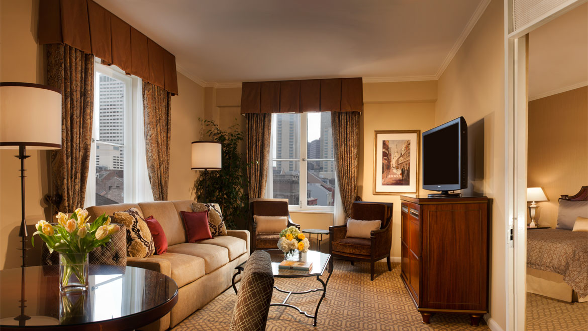 Suite living area at Royal Orleans