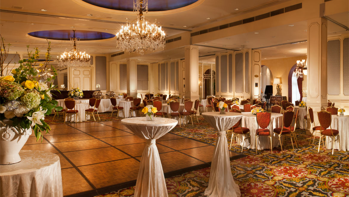 Wedding reception setup at Royal Orleans