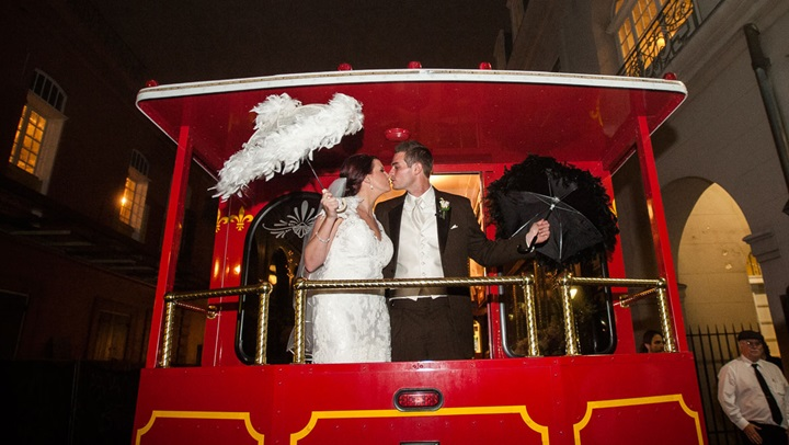 Bride and groom on a streetcar