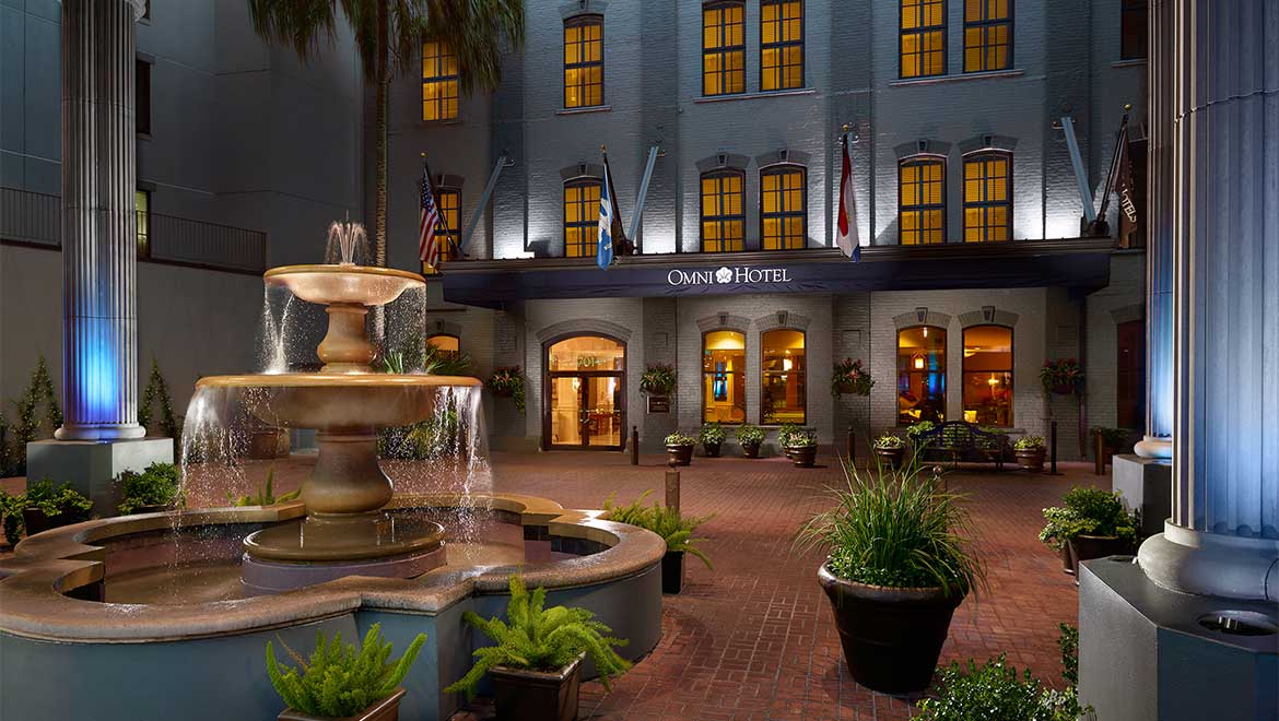 Fountain at hotel entrance