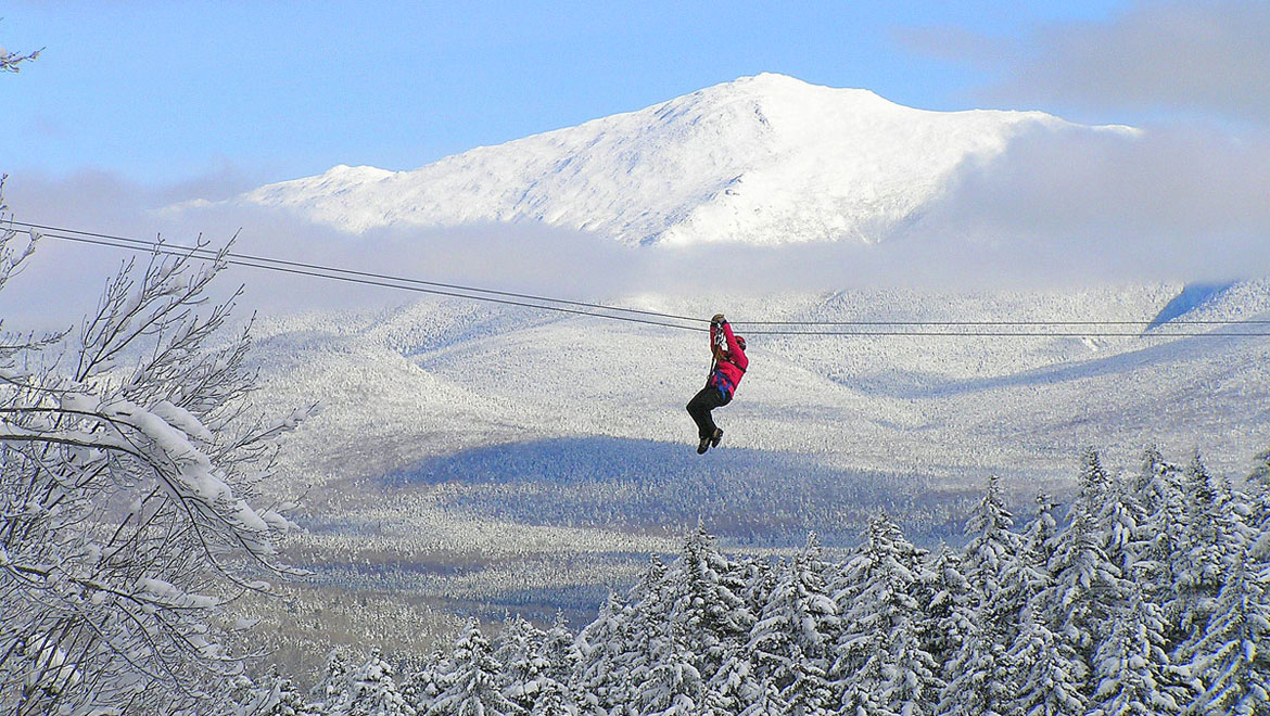 Zip lining at Mount Washington