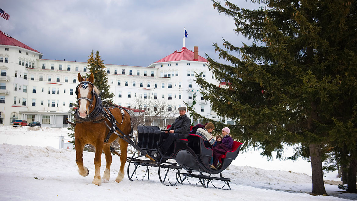Riding a horse sleigh in the winter at Mount Washington