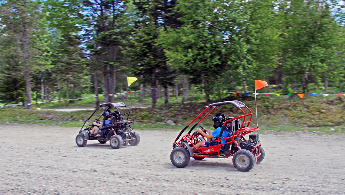 Kids racing go-karts