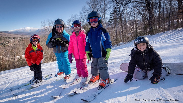 Smiling ski family at Bretton Woods