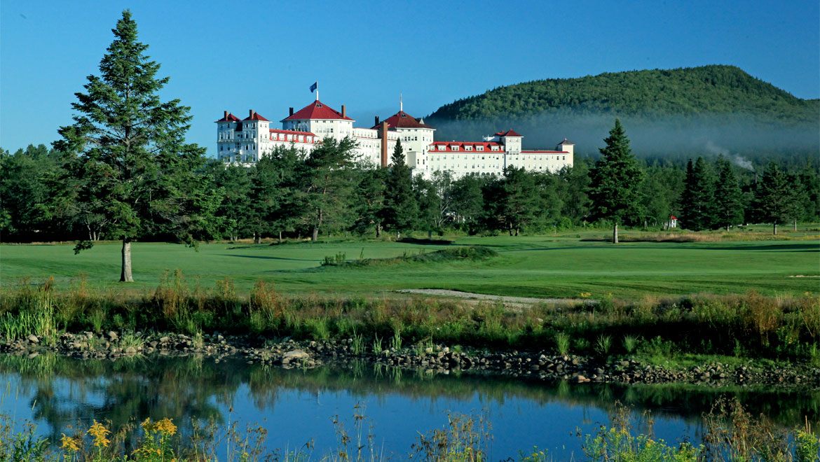 View of Omni Mount Washington from golf course