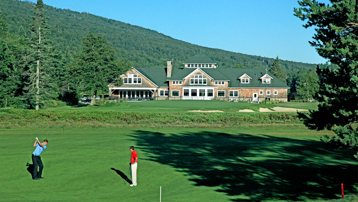 Golf course with view of resort at Mount Washington
