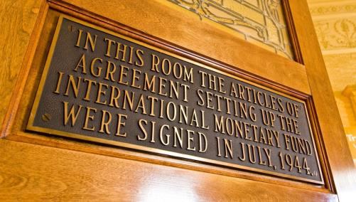 In this room the articles of agreement setting up the international monetary fund were signed in July 1944
