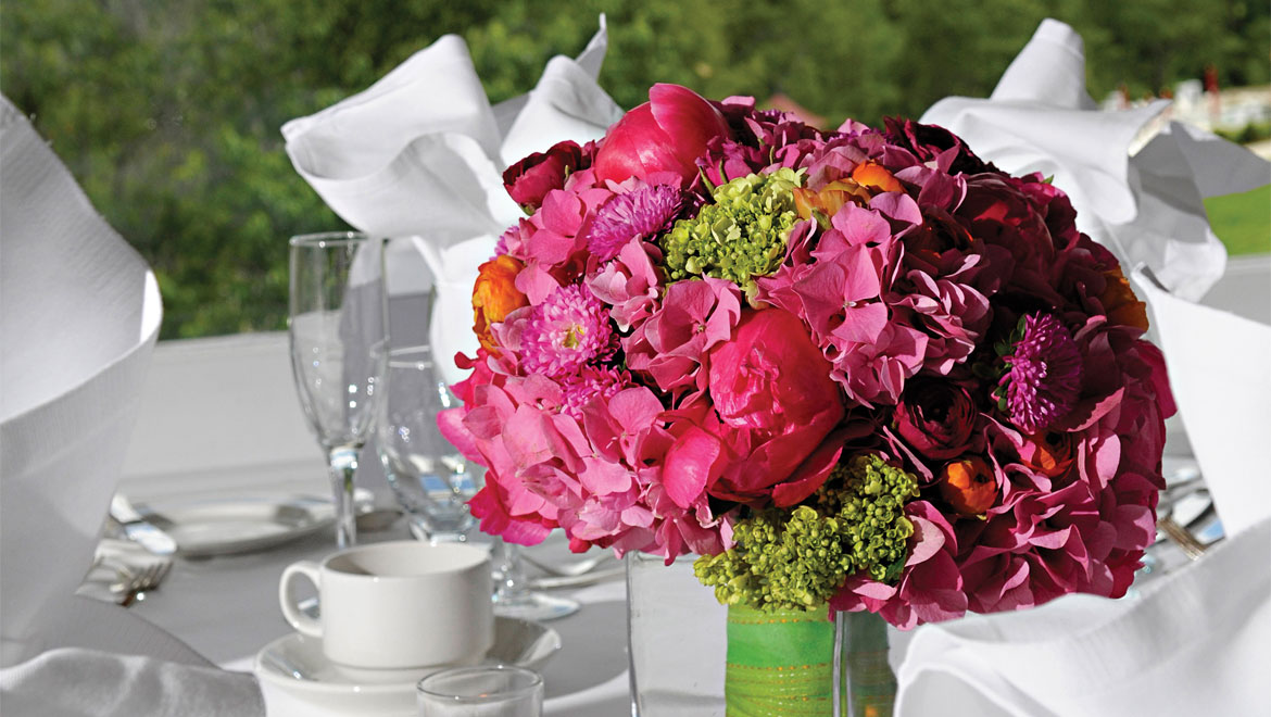 Floral arrangement at Mount Washington wedding