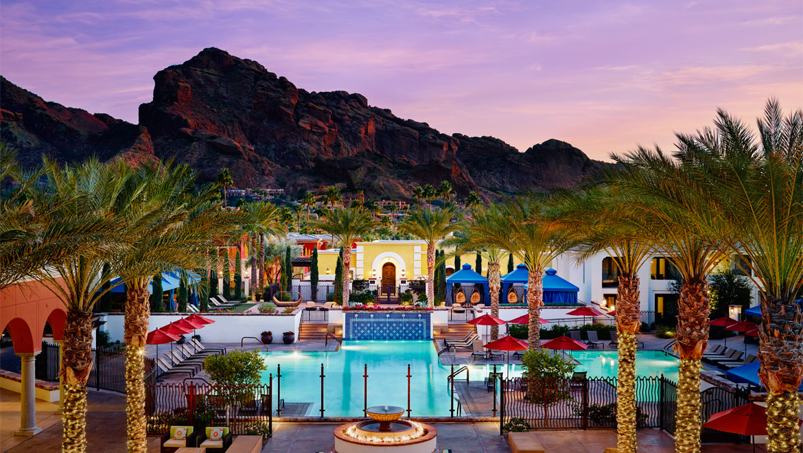 Wide view of the pool and mountains at Montelucia in Scottsdale