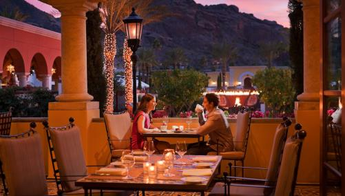 Omni Scottsdale Couple Dining Prado Patio