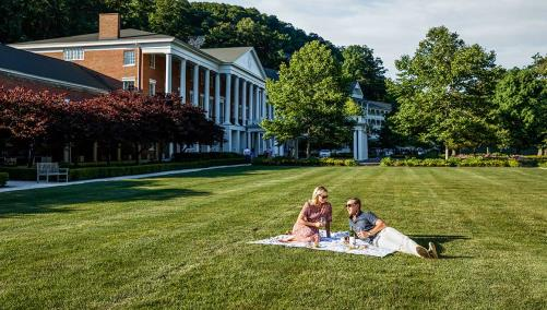 Couple picnicking on front lawn