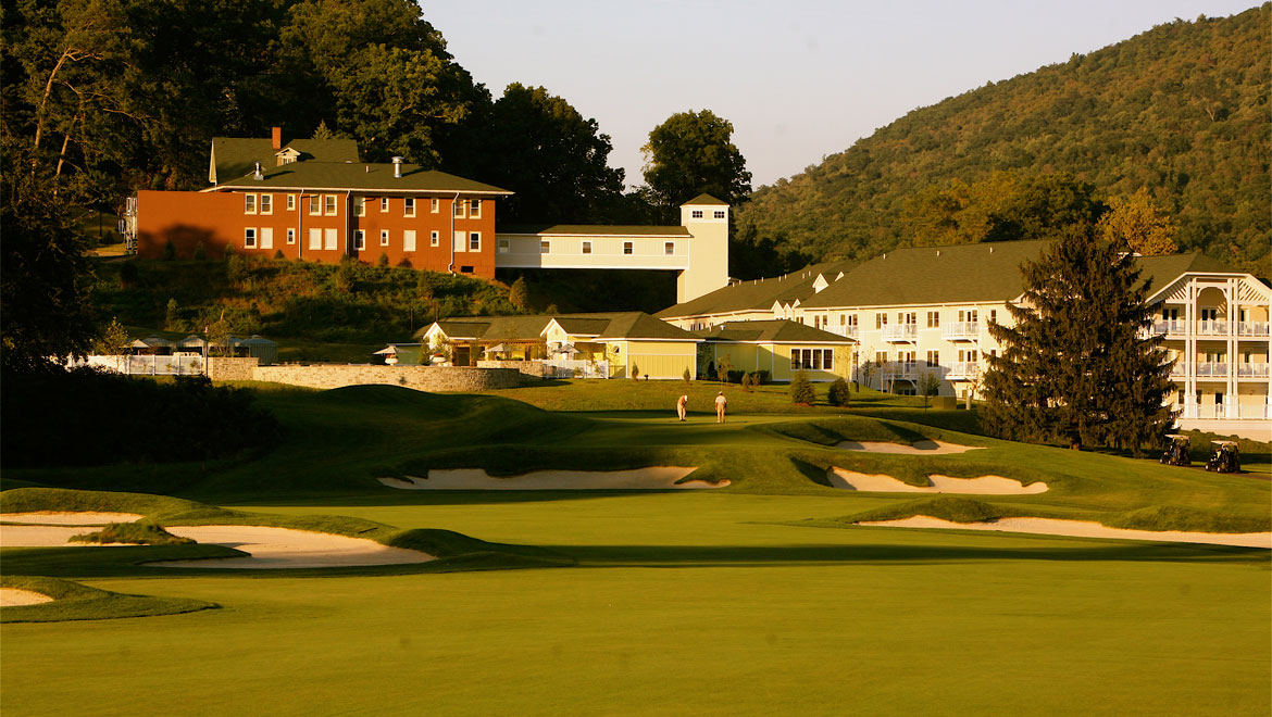 Bedford Springs Resort golf course with view of resort