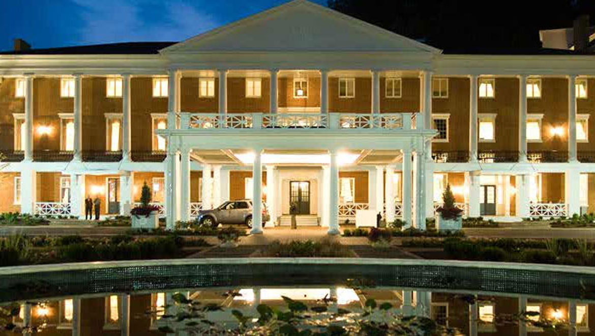 Bedford Springs Resort front exterior at night