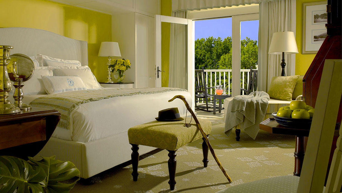 Guest room with patio at Bedford Springs Resort