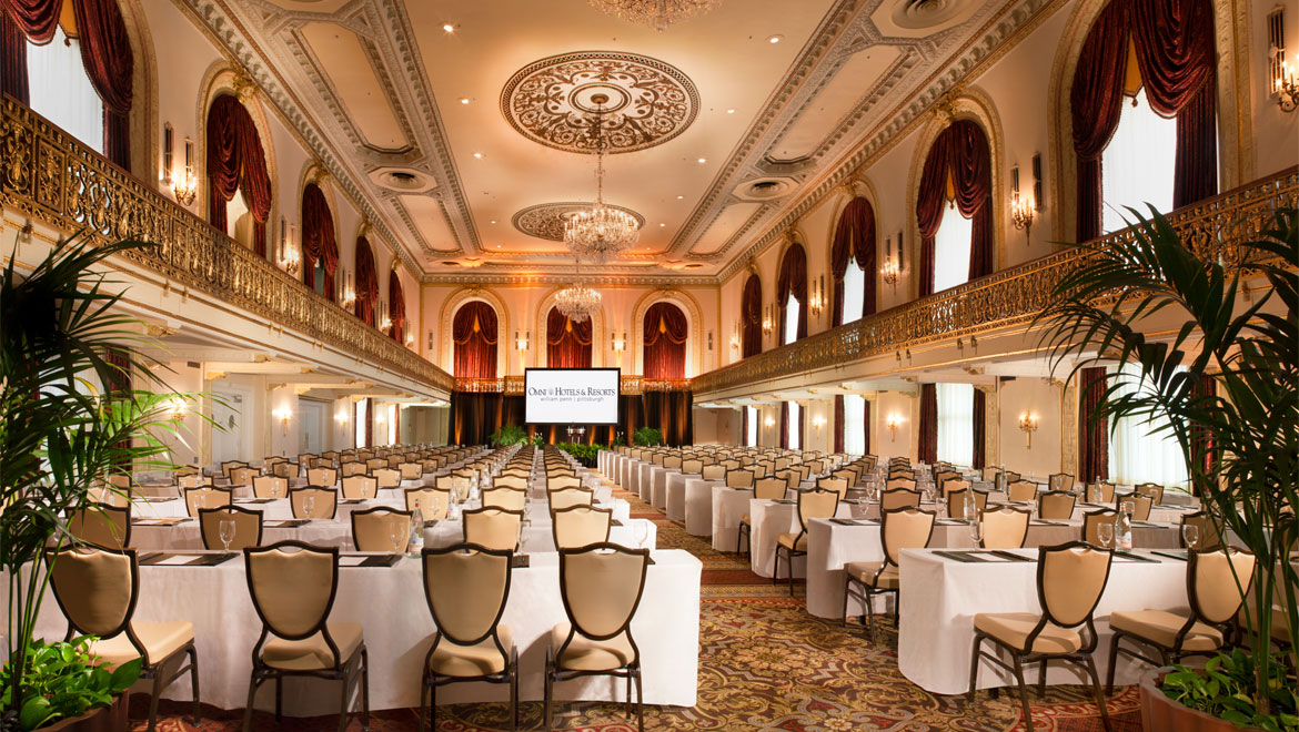 William Penn Hotel ballroom with tables and chairs set up
