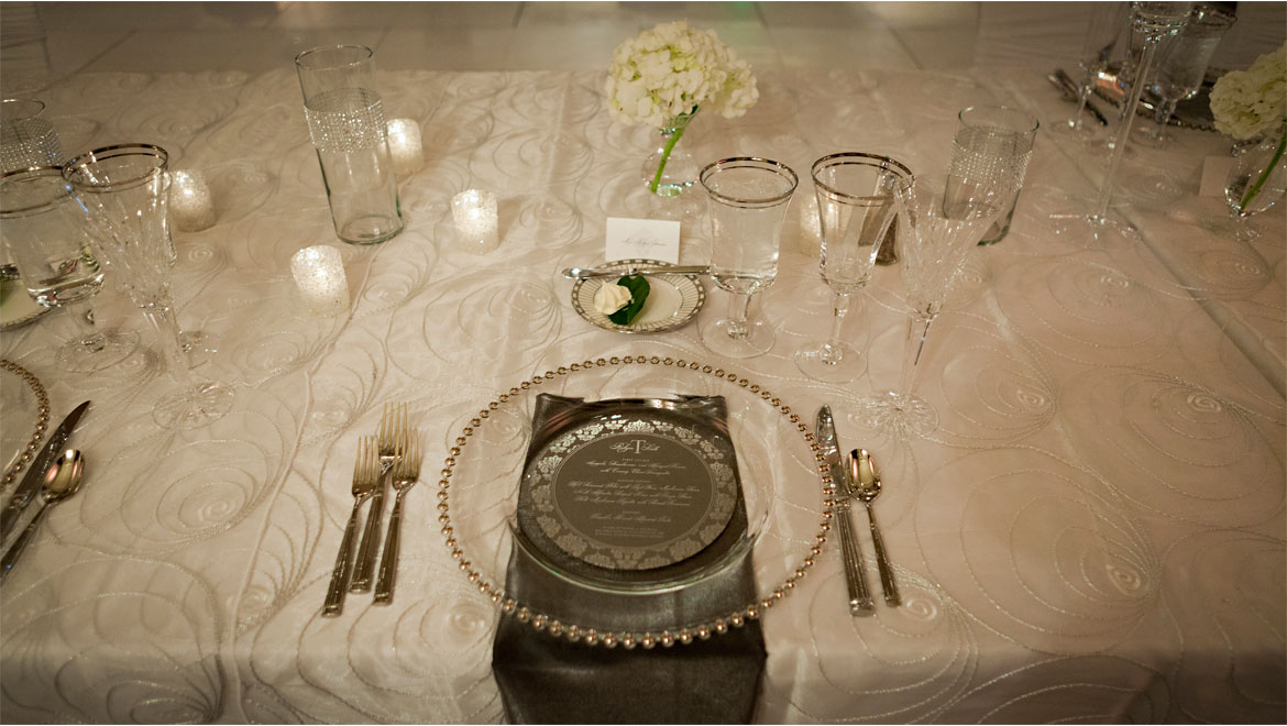 Place setting at Pittsburgh wedding