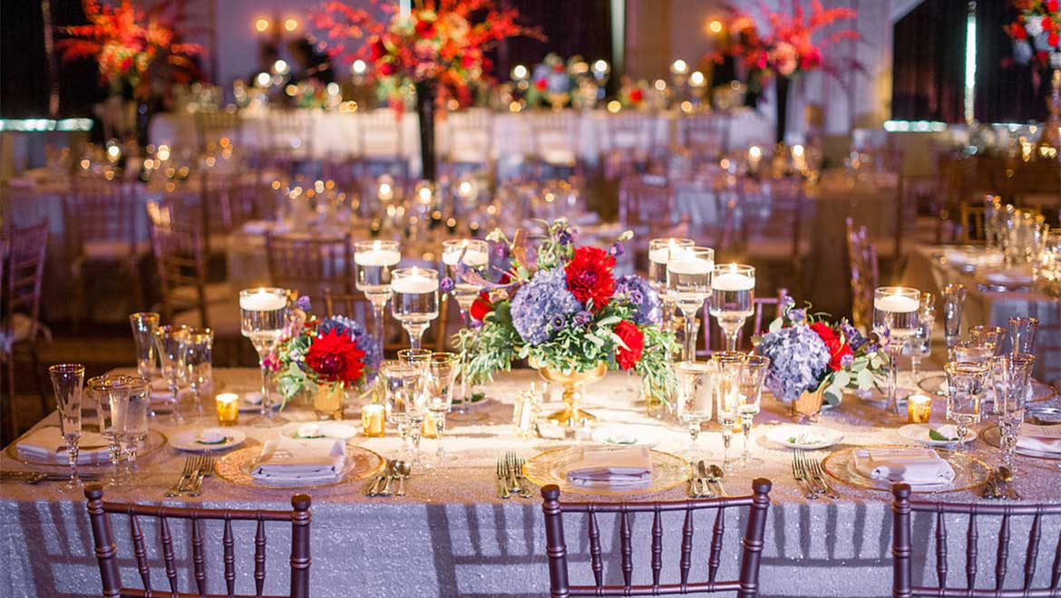 Wedding reception table setup