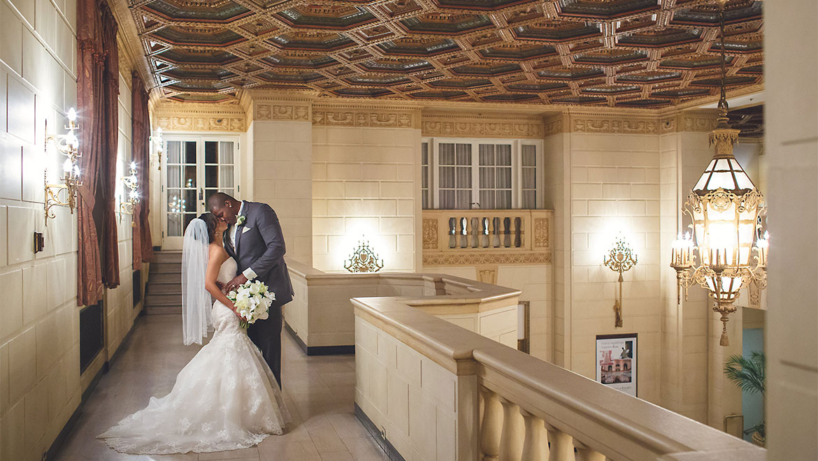 Bride and groom at Omni William Penn Hotel