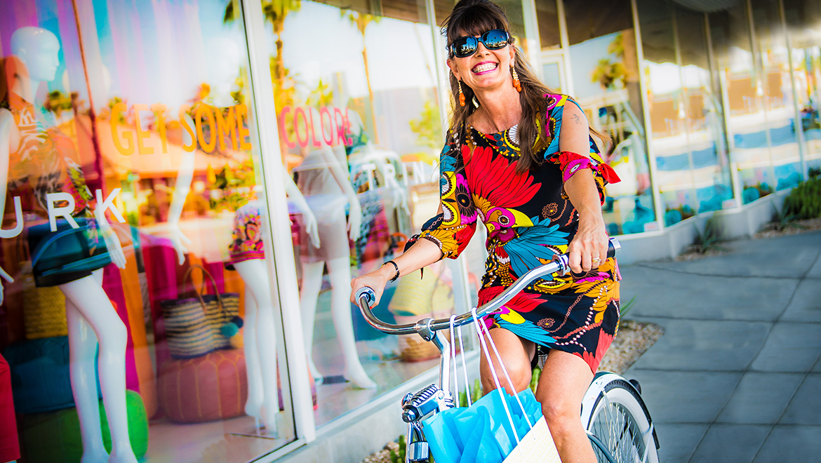 palm springs trina turk biking shopping