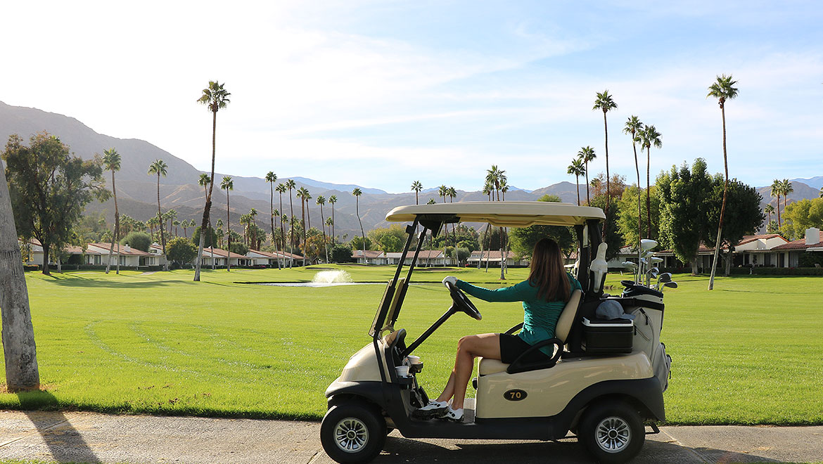 golf cart with mountain views