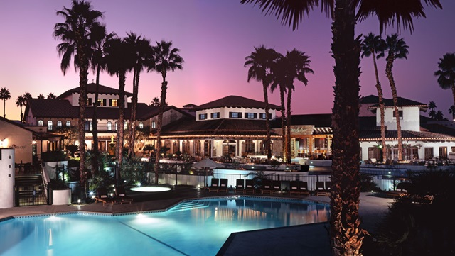 Omni Rancho Resort pool at sunset