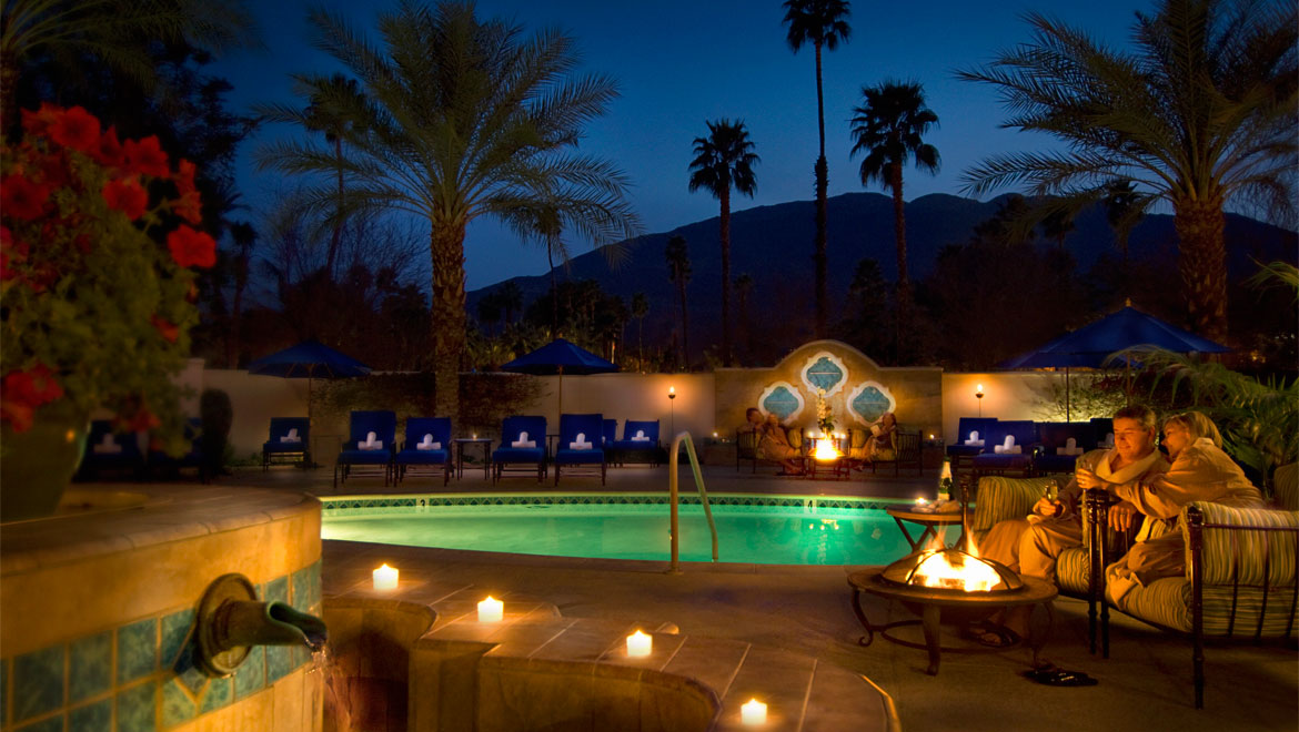 Omni Rancho spa at night