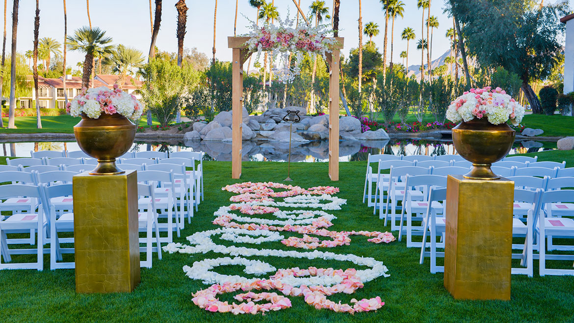 Pink and White Las Palmas Lawn Wedding