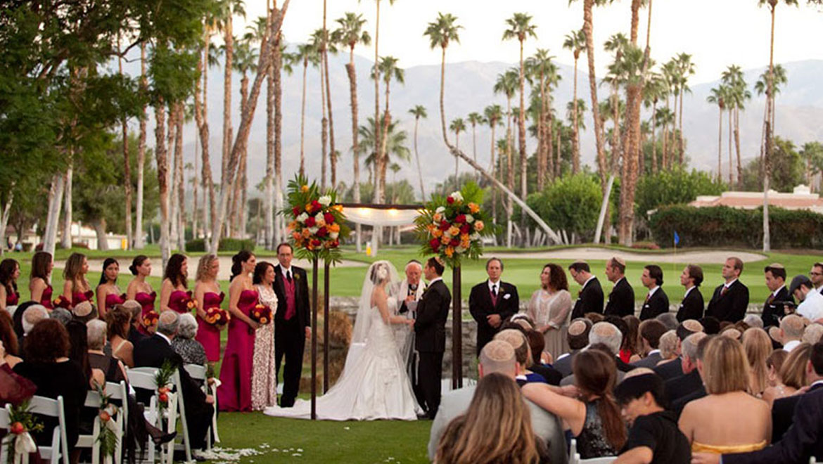 Wedding on golf course sixth tee at Omni Rancho