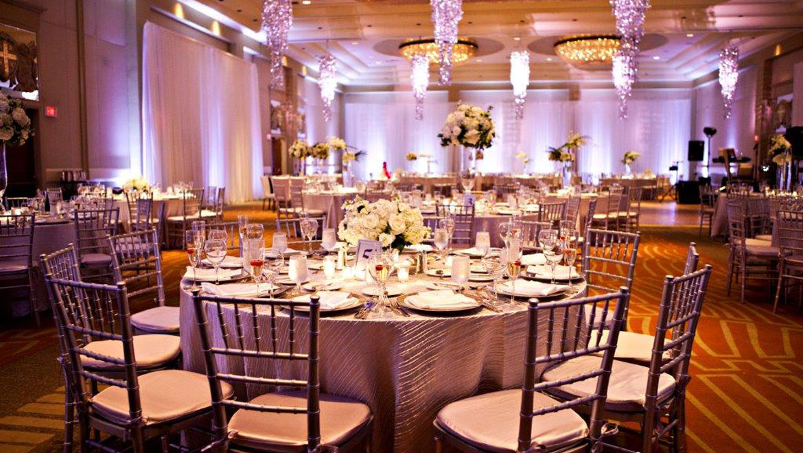 Wedding table arrangement at Providence hotel