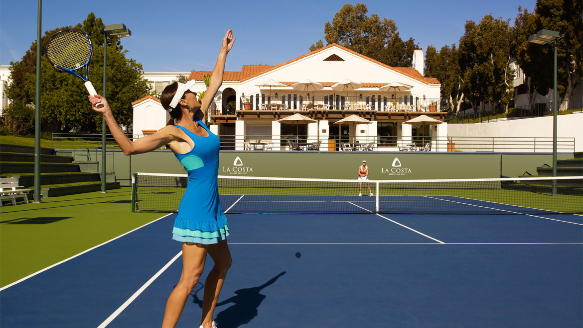 La Costa tennis courts with woman playing