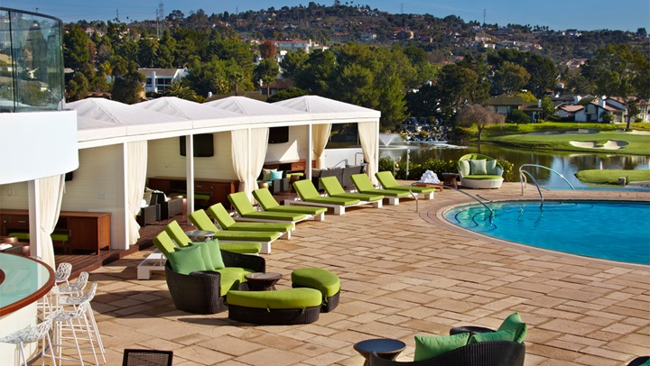 Cabanas and lounge chairs at La Costa pool