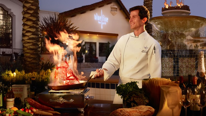 La Costa chef outside of blue fire
