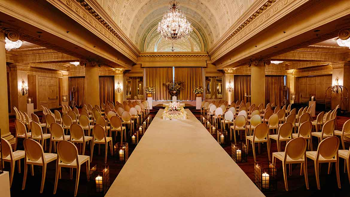 Crystal Ballroom Wedding Ceremony Setup