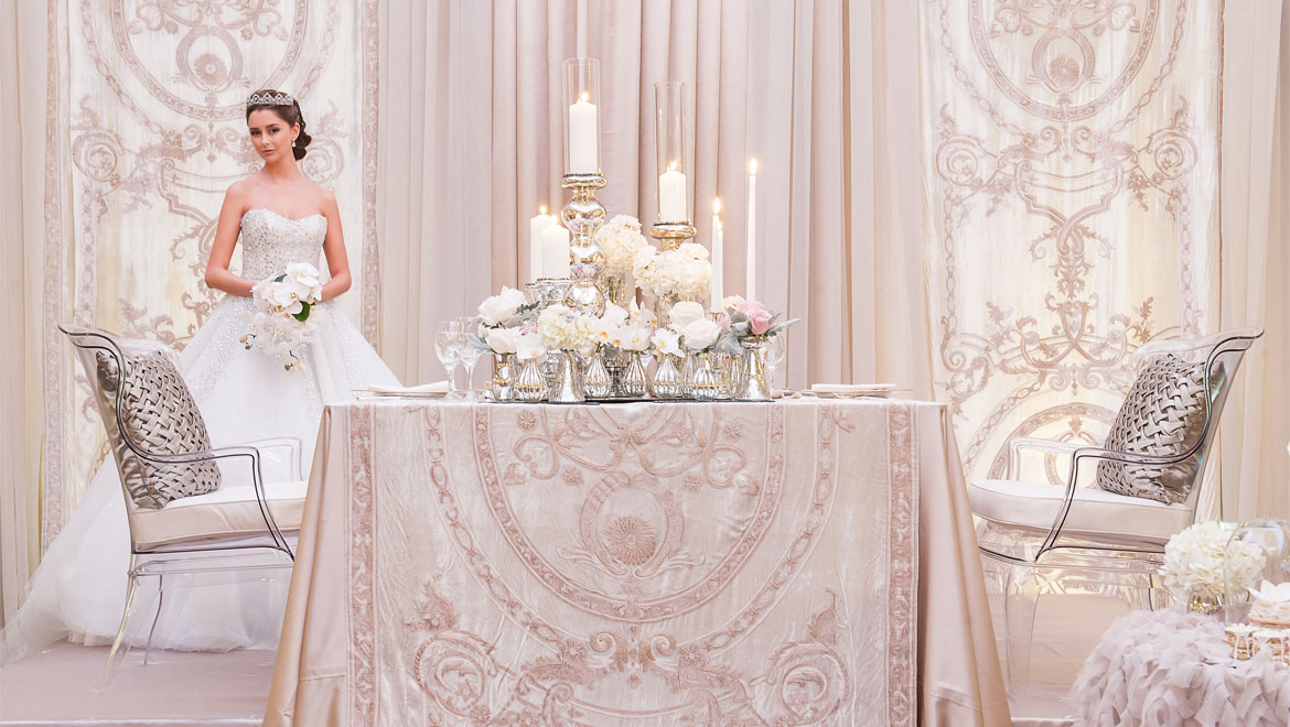 White and silver wedding venue with bride King Edward Hotel Toronto