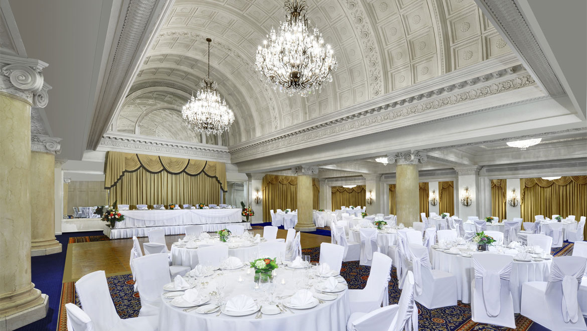 Ballroom tables set up King Edward Hotel in Toronto