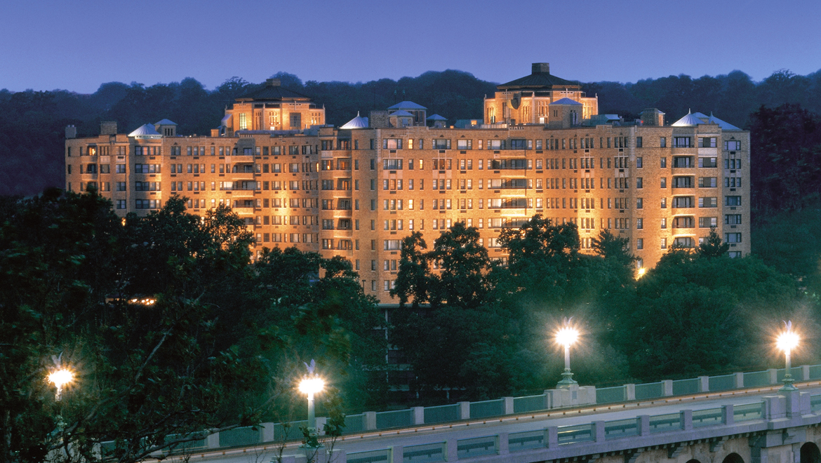 Omni Shoreham Hotel at night