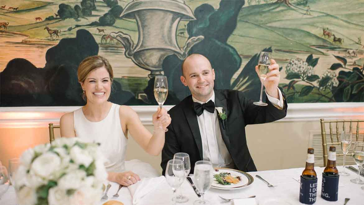 Bride and Groom toasting champagne