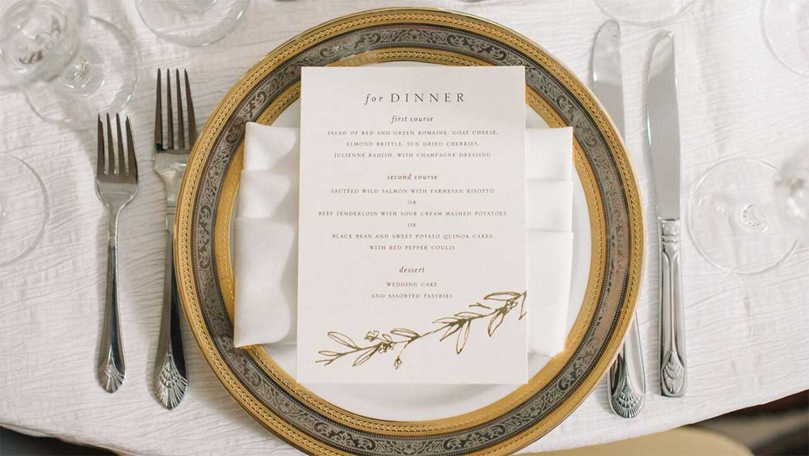 Reception menu on table setting