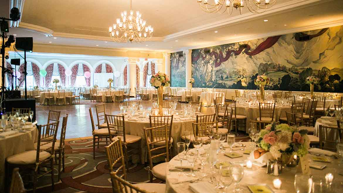 Wedding reception dance floor and dining tables