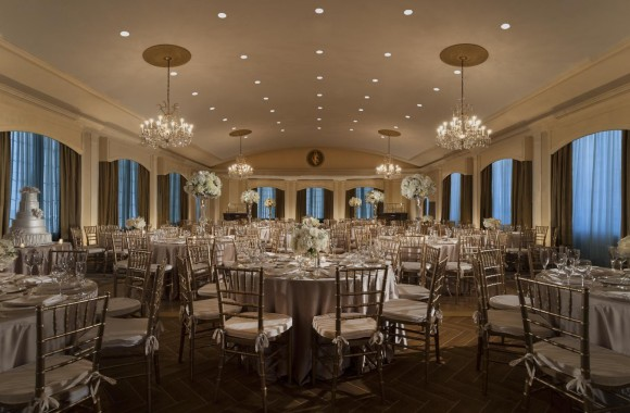 Rooftop Ballroom Wedding with recessed lighting