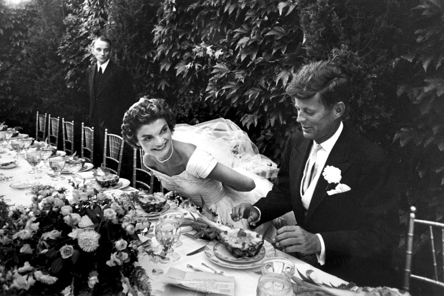 JFK and Jackie O at their Wedding table