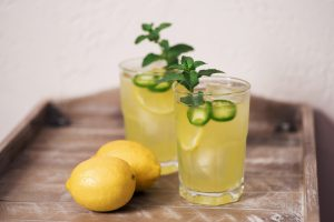 Lemon and jalapeno cocktails