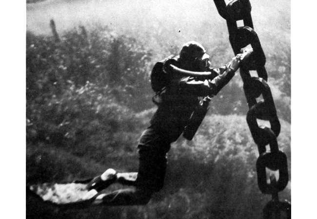 OSS Combat swimmers trained for a variety of missions, including underwater sabotage byplanting limpet mines on the hulls of enemy ships. True visionaries, the Maritime Unit saw the possibilities of parachuting teams to an underwater target, much like today's SEALs, putting them decades ahead of their time.