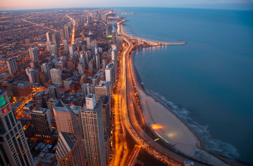Arial view of Chicago