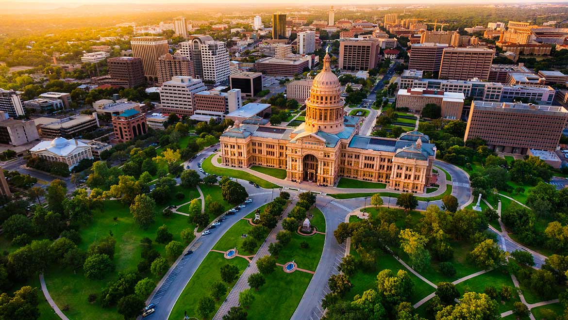 aerial shot of the texas state capitol building